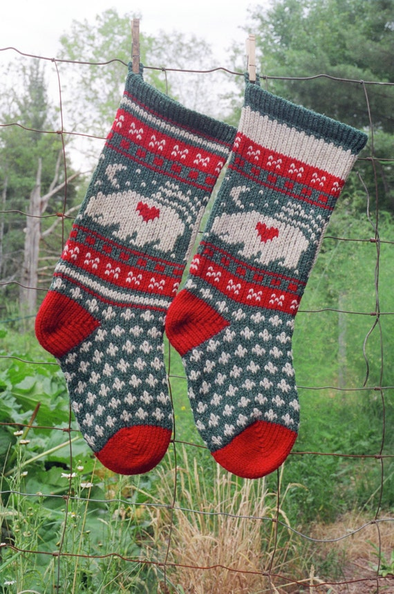 Digital Christmas Stocking Knitting Pattern Bear Stocking Etsy