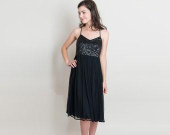 Vintage Sequin Slip Dress - 1990s Strappy Black Dress - 90s Chiffon Babydoll Slip Dress - M