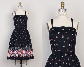 Vintage Black Floral Cotton Dress - 1970s Scalloped Border Print Dress with Pockets - M