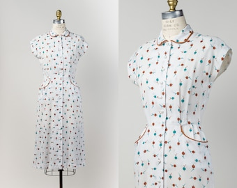 1940s Dress - Vintage 40s Dress by Lampl - White Linen Wiggle Dress with Teal & Brown Print and Pockets - size S