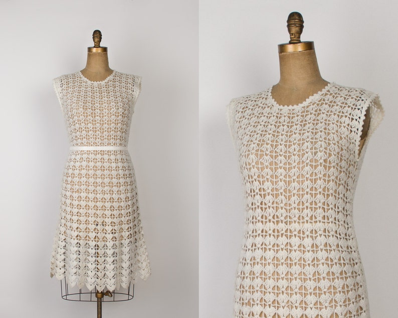 de662d51 1960s Crochet Knit Dress Vintage 60s Hand Knitted Wool Dress | Etsy