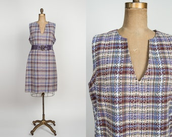1960s Jumper Dress - Vintage 60s Plus Size Plaid Dress - Woven Purple Woolen Shift Dress - xxl