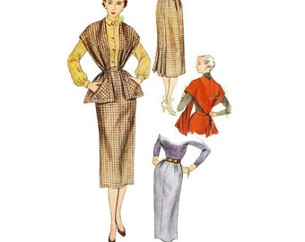 362e0041 1950s Slim Skirt and Shaped Stole Pattern Simplicity 3655 W24 H33