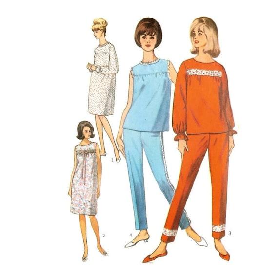 Vintage Schnittmuster für Pyjama oder Nachthemd Simplicity Schnitt 6277 OW 86 cm