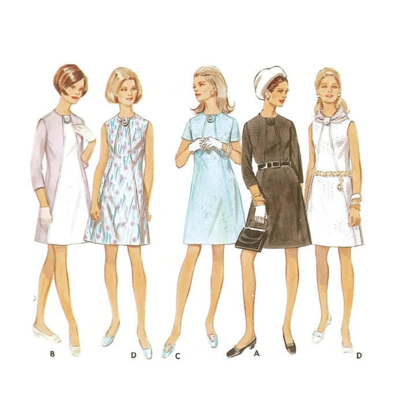 1960er Jahre A-Linie Kleid Schnittmuster Butterick 5307 OW 92   Etsy