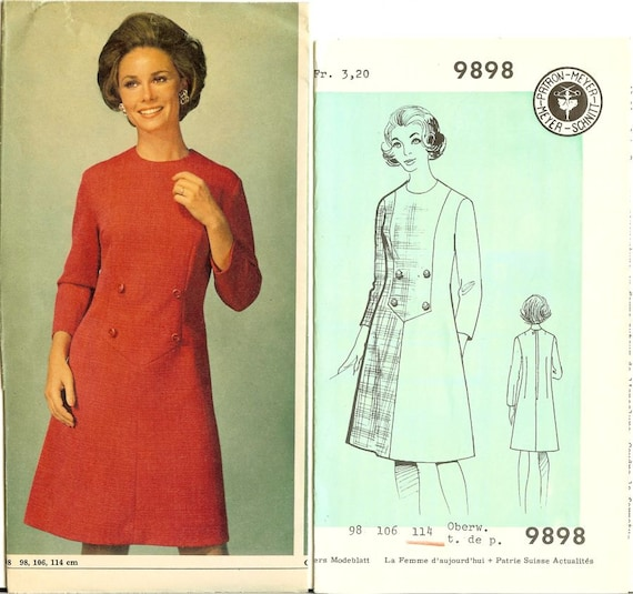 1960er Jahre Mod A-Linie Kleid Schnittmuster OW 114 cm Meyers   Etsy