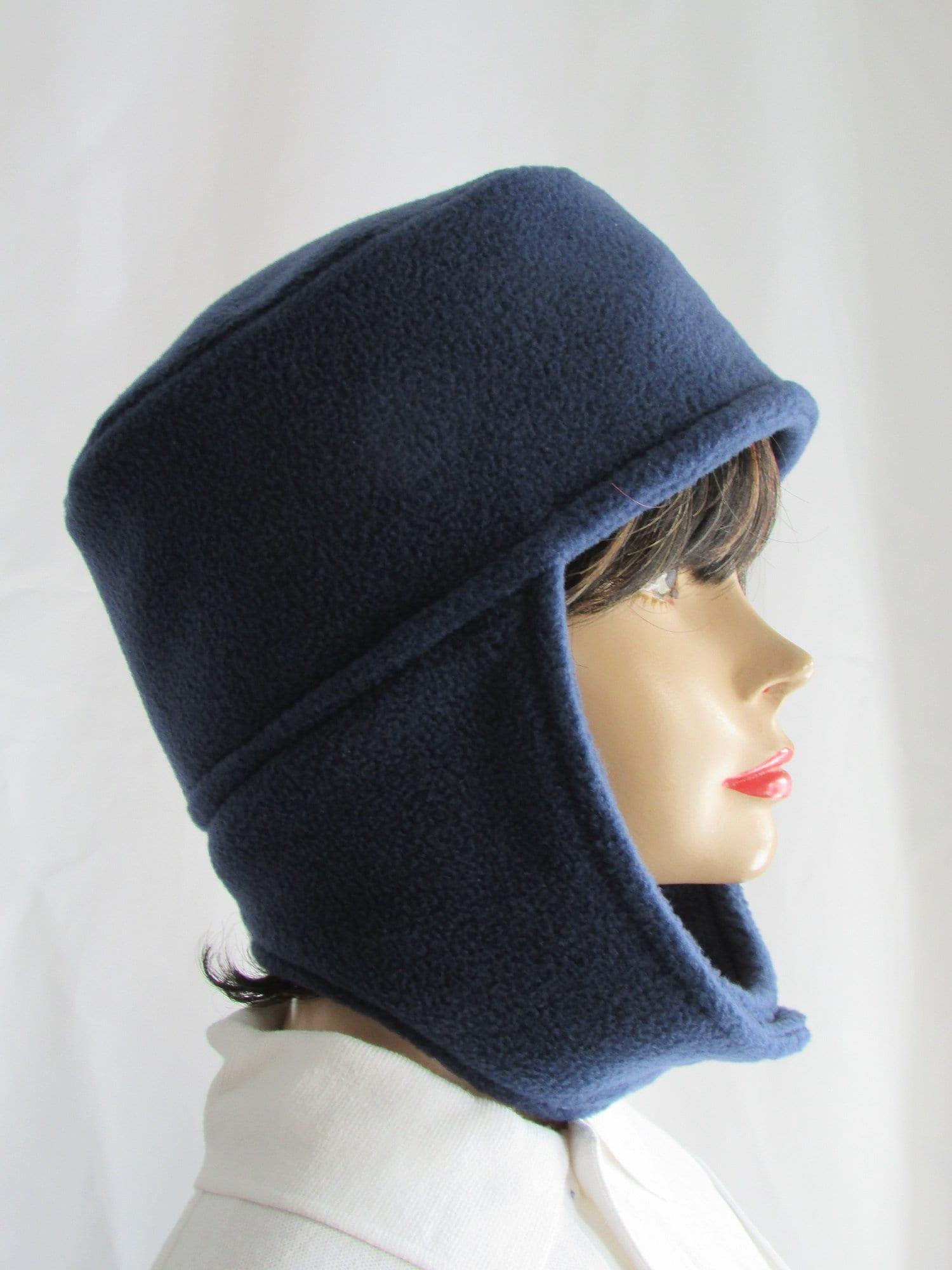 5026b241c13 Navy blue pillbox hat ear flap lined interlined etsy jpg 1500x2000 Winter  velcro hat