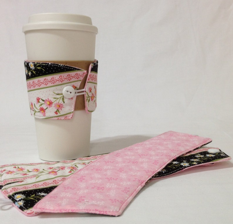 SALE  Pink and White Daisy Coffee Cozie   2 for image 0