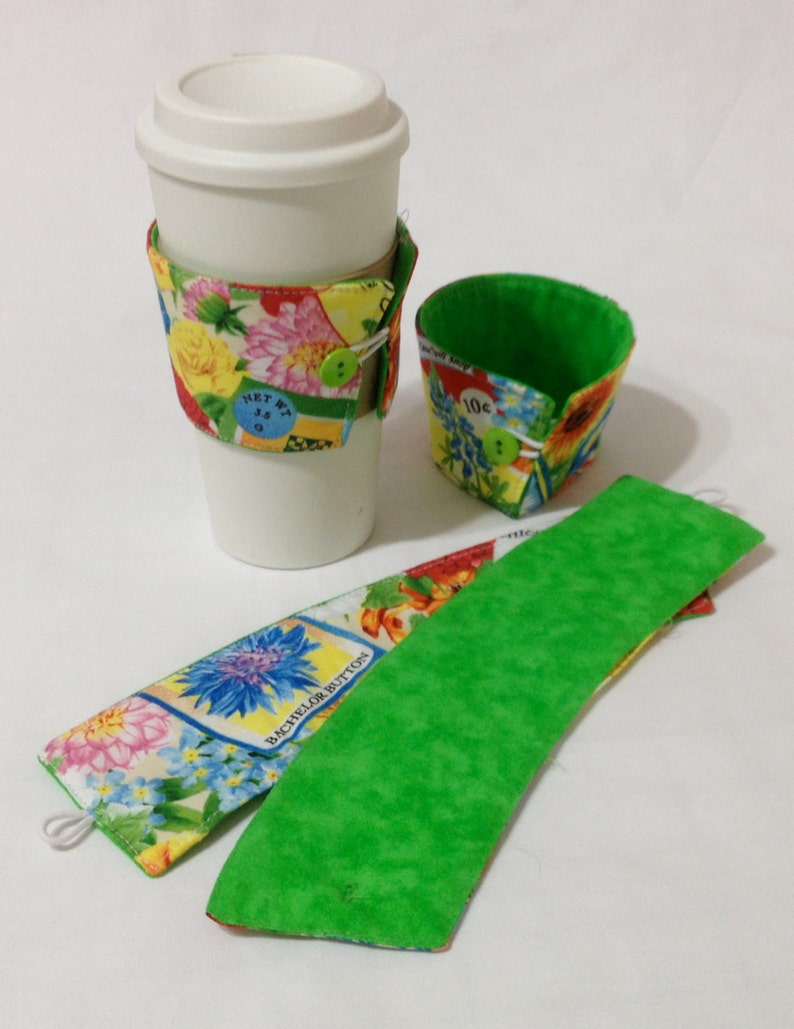 SALE   Bright flower Coffee Cozie   2 for 1 Mix image 0