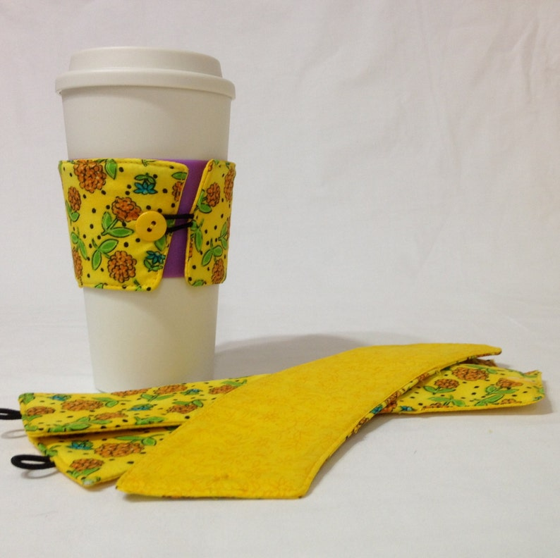 SALE  Yellow Flower Coffee Cozie   2 for 1 Mix image 0