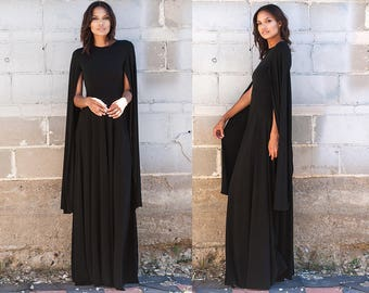 Black Capelet A Line Maxi Dress XS S M L XL XXL