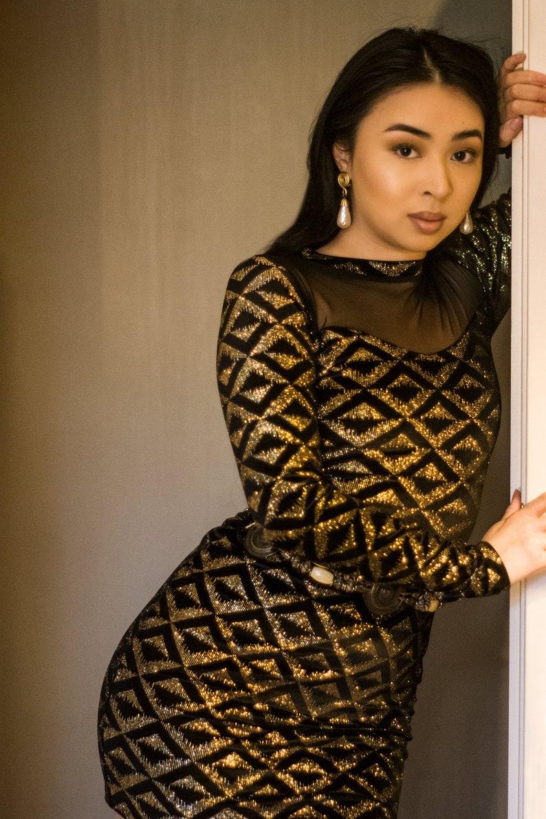 Metallic Glitter Velvet Gold Black Bodycon Mini Dress Small