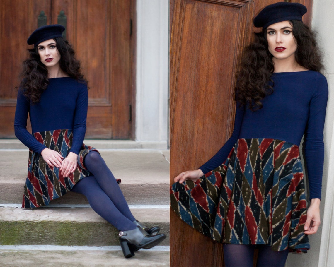 LAST ONE Abstract 1960's Inspired Babydoll A-Line Navy