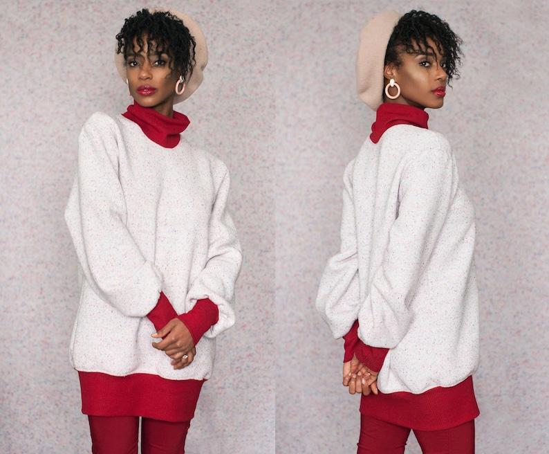 Fleece Lined Confetti Speckled Baggy Turtleneck Sweatshirt Tunic  XXL 2XL