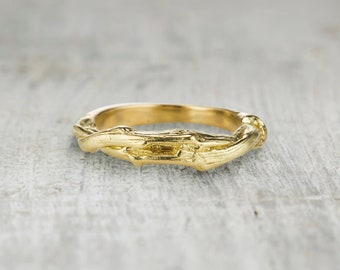 Twisted Gold Twig Ring - Thick Wedding Band Twig Wedding Ring in Solid Rose Gold, Yellow Gold, White Gold or Platinum