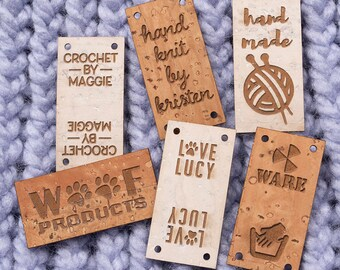 Logo tags Personalised cork tags in grey Cork labels Vegan leather tags Branding tags Choice of colours