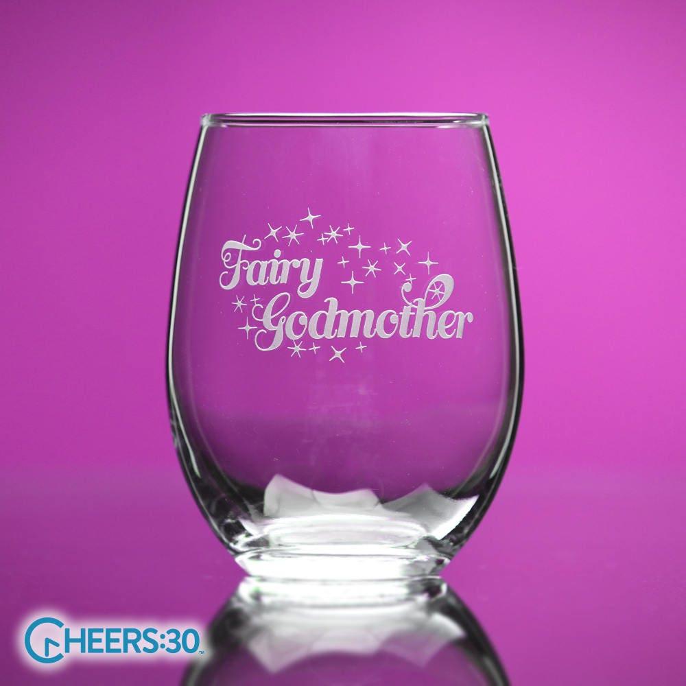 Fairy Godmother stemless wine glass girlfriends fun wine