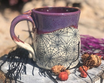 Halloween Spider Web Mugs /TWO are Ready to Ship NOW - Spider Webs w/Beautiful Purple Rim, Still Warm, Fresh out of the Kiln, Perfect Mugs
