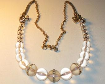 Vintage Ann Taylor Loft Long Clear Lucite Crystal Necklace (N-1-3)