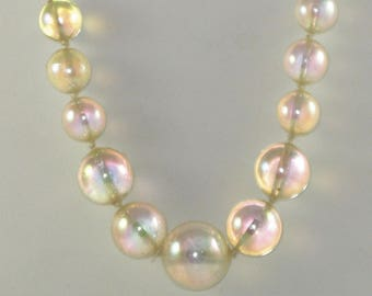 Vintage Clear Lucite Iridescent Soap Bubble Necklace (N-2-2)