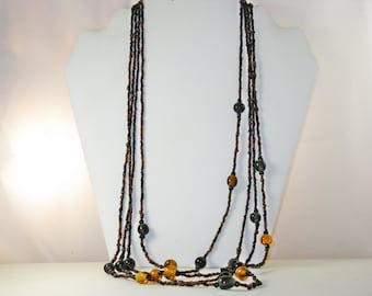 Vintage Black and Amber Glass Bead Multistrand Necklace (N-4-1)