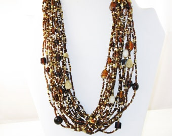Vintage Brown and Beige Glass Seed Bead and Art Glass Multistrand Necklace (N-4-2)