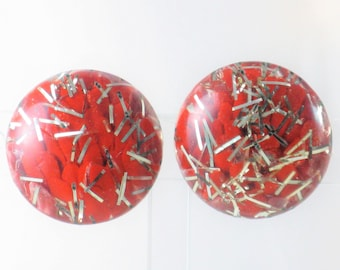 Vintage Red Lucite Confetti Clip Earrings (E-2-3)