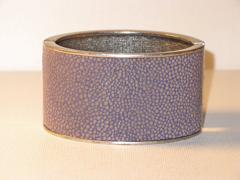 CLEARANCE SALE Vintage Wide Purple Leather Hinged Cuff Clamper Bracelet BR-2-1