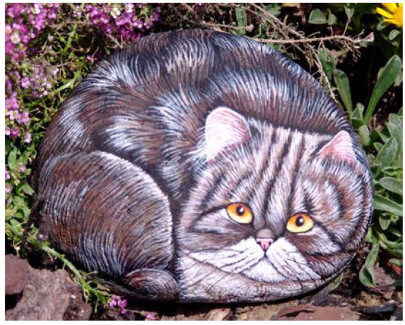 How to paint a Persian Cat on Stone  Rock Painting Tutorial  image 0