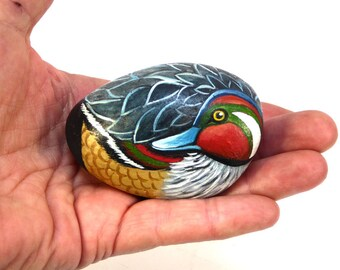 Eurasian Teal Duck-Hand Painted Stone-Natural Shaped Rock-Home Decor-Collectible-Stone Art