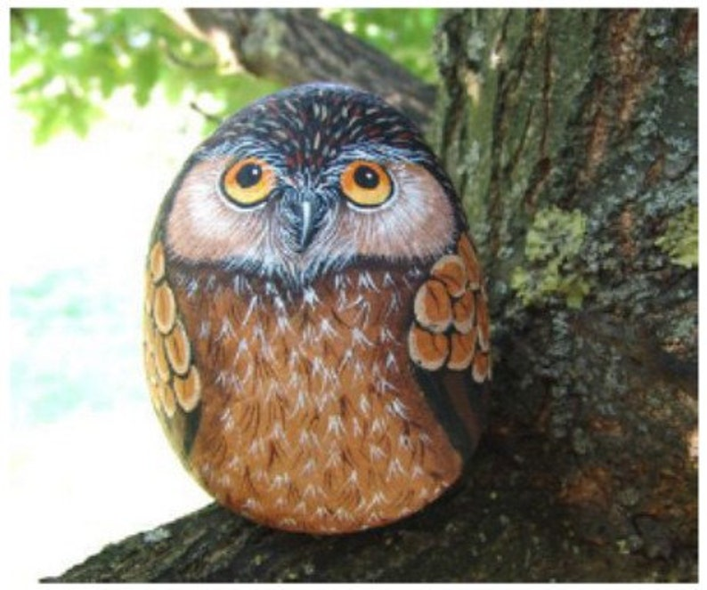 How to paint an Owl on rock Rock painting pdf tutorial  image 0