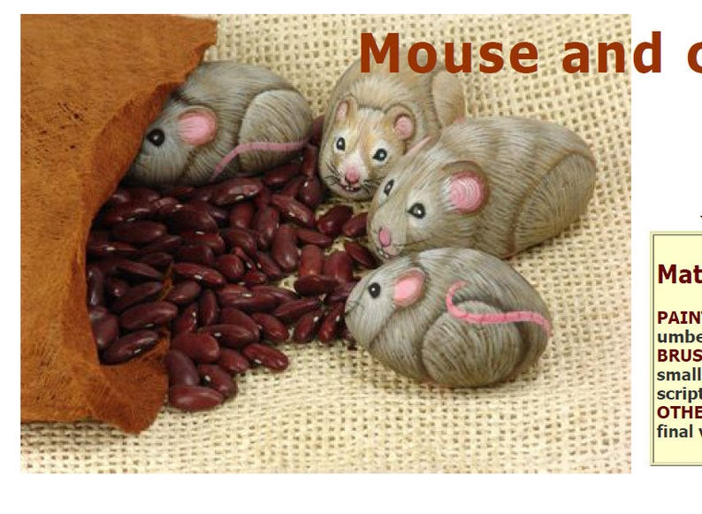 How to paint a stone mouse-Rock painting Lesson-Pdf image 0