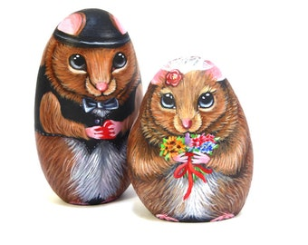 Just married mice-3D Hand Painted Stones-OAK painted rocks-Home Decor-Cake Topper-Cute Mouse