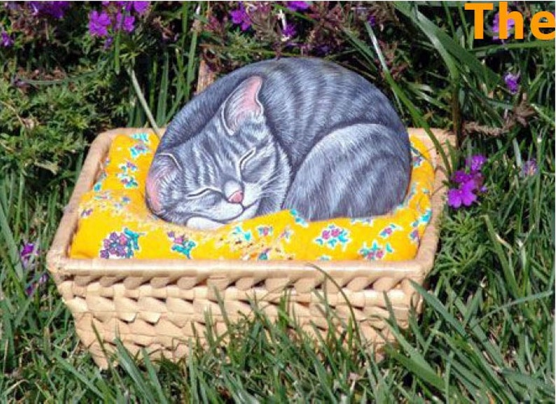 How to paint on rock a Sleeping Kitty  Rock Painting Tutorial image 0