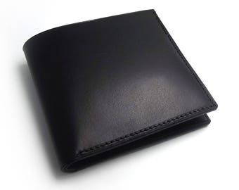 Minimalist Leather Wallet - Black Leather Wallet, Canadian Made, Mens Wallet, Christmas Gift for Men, Leather Billfold, Bifold Leather