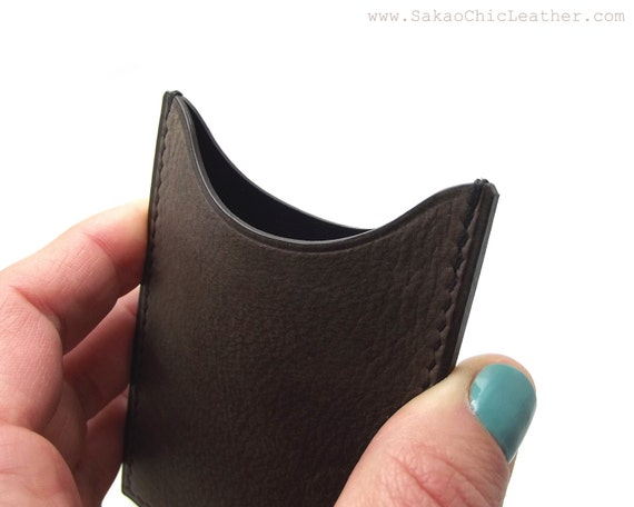 Vertical Wallet Handmade Card Holder Personalized Business Card Case Sakao on Etsy ASH Gray Leather Card Case Card Holder