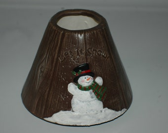 Snowman Candle Shade - Brown