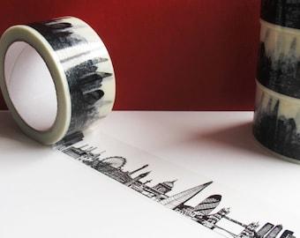 London Skyline Decorative Sticky Tape (50mm), Black