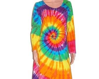 Rainbow TIE DYE Dress Rainbow PinWheel Psychedelic Tye Dye Women's Long Sleeve Dress hippie gypsy sm med lg xl 2X 3X Grateful Dead love