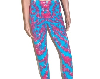 TIE DYE Leggings Hot Pink & Turquoise Blotter Tye Dye American Apparel Spandex Tights small medium large xl hippie boho Grateful Dead