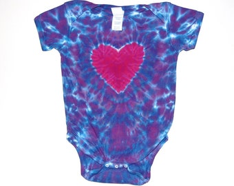 Size 12 and 24 month Green Blue and Purple Spiral Tie Dyed Long Sleeve Infant Onesies