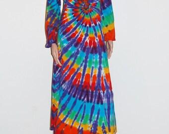 da25b0e384d32 Rainbow Tie Dye Dress Rainbow Spiral Psychedelic Tye Dye Women s Long  Sleeve Dress Grateful Dead hippie gypsy boho sm med lg xl 2X 3X