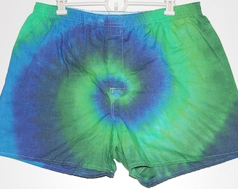 Men/'s Large 36-38 upcycled shorts waist measures 36;see listing for sizing info -tie dye dyed bluepurple drawstringelastic waist#F33 L