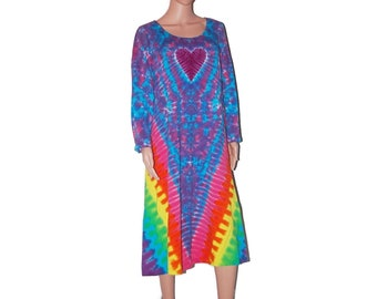 Tie Dye Dress Rainbow V Heart Psychedelic Tye Dye Women's Long Sleeve Dress Grateful Dead hippie gypsy sm med lg xl 2X 3X love