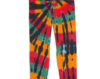 TIE DYE Kids Leggings Rasta Spiral sizes 6m 12m 18m 2T 4T 6 8 10 12 Psychedelic Tye Dye long johns Grateful Dead hippe gypsy
