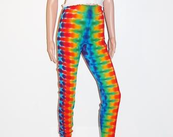 Rainbow TIE DYE Leggings Rainbow DNA Psychedelic Tye Dye hippie Adult long johns small medium large xl 2x boho gypsy Grateful Dead