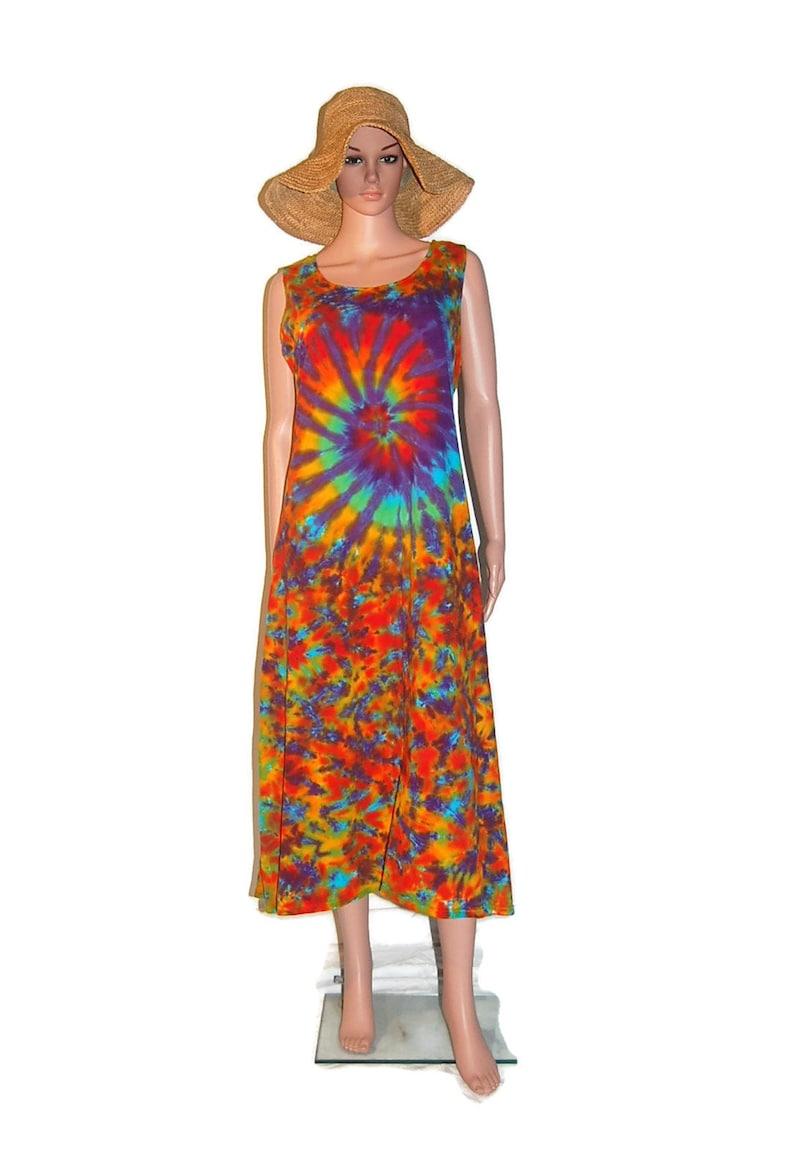 e631fcb5f1e TIE DYE Dress Rainbow Spiral Blotter Psychedelic Tye Dye