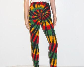 TIE DYE Leggings Rasta Spiral Tye Dye long johns Adult small medium large xl 2x hippie reggae boho gypsy Grateful Dead Marley