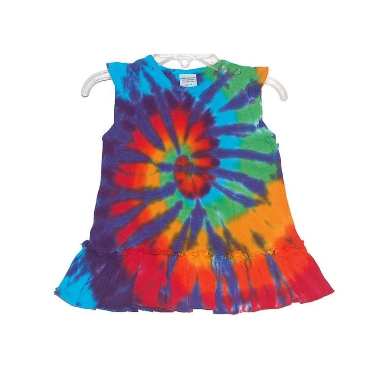 432261c97f7 Rainbow TIE DYE Dress Rainbow Spiral Tye Dye Baby Girl s