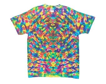 Tie Dye Shirt Neon Rainbow Blotter Adult T-Shirt small medium large XL 2X 3X 4X 5X 6X Psychedelic Grateful Dead short sleeve Tye Dye
